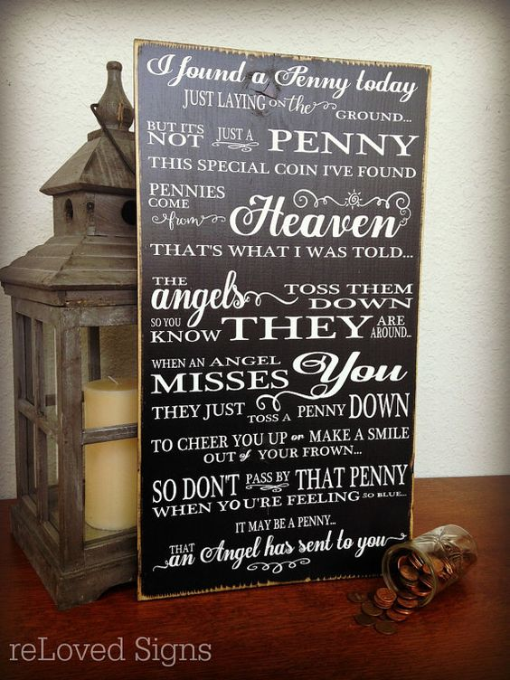 Pennies from Heaven Sign Memorial Sign Remembrance Gift Wedding by reLovedSigns