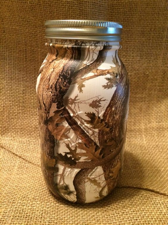 camo dipped mason jar by hilltopcountry on etsy