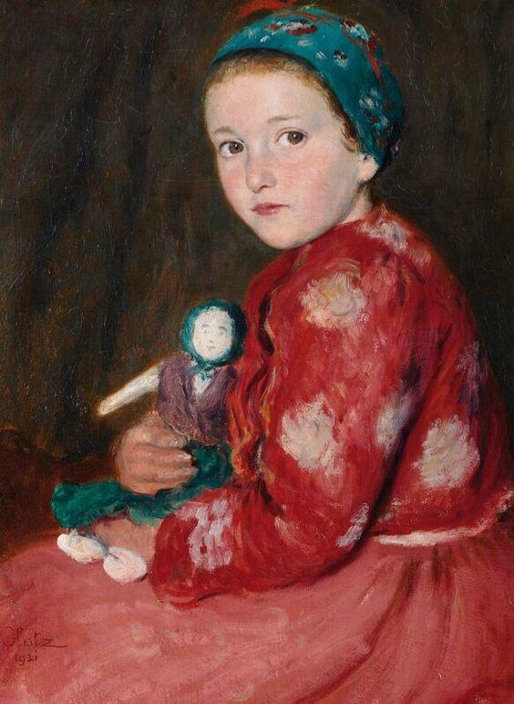 """""""Bujáki kislány babával"""" (1931?) by Oszkár Glatz (1872 – 1958, Hungarian)"""