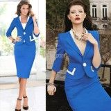 No New Womens Elegant Business Work Suit Half Sleeve Color block Jacket Blazer and Bodycon Pencil Skirt Dress, http://www.shopcost.co.uk/