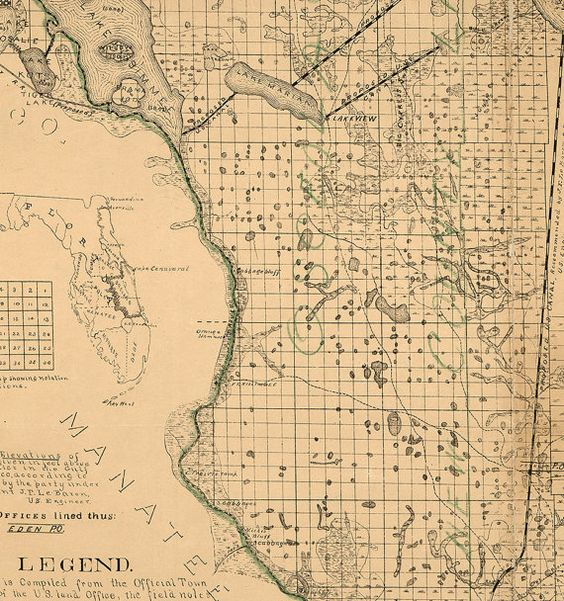 Map of Brevard County Florida 1893 by RetroPrintmaker on Etsy