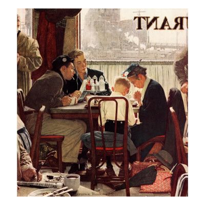 """""""Saying Grace"""" November 24 1951 by Norman Rockwell"""