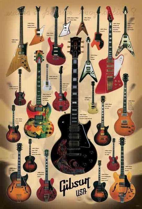 24 models electric guitar brand gibson paper poster music instrument vintage guitars. Black Bedroom Furniture Sets. Home Design Ideas