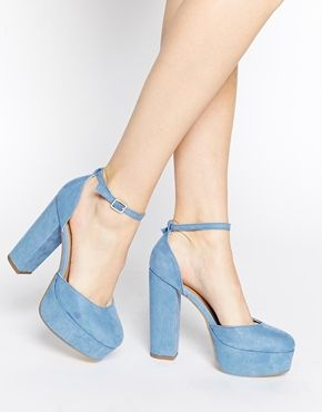 Enlarge New Look Sound Blue Platform Heeled Shoes
