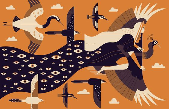 Directory-Illustration-33-Cover-Hera-Birds-Sky-Argus-Mythology-Trees-Cow-Greek-Ancient-Comendium-Annual-2016-Owen-Davey_1000.jpg (1000×647)