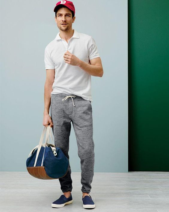 Tops [Shirt] (Polo, white) Pants [Sweatpants] (heather grey, drawstring) Slip ons (navy blue) Accessories [Bag] (duffel, navy, brown, leather, canvas) Accessories [Hat] (red, snapback)