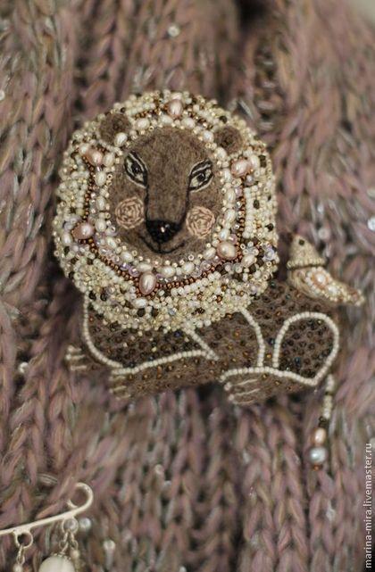 Броши ручной работы. войлочная брошь  Лев,.войлок, сказочные существа.. Марина Малышкина ( marimishka).…