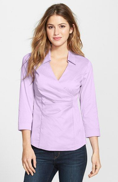 Free shipping and returns on NYDJ Fit Solution Wrap Front Blouse at Nordstrom.com. NYDJ now brings its famously slimming lift-tuck technology to a stretch-poplin shirt designed with flattering pleats at the surplice neckline. The three-quarter sleeve style features a stretchy lining that shapes and smoothes from within.