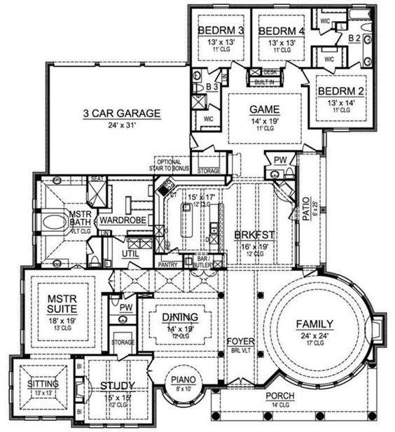 House Plan 5445 00141 European Plan 4 956 Square Feet 4 Bedrooms 4 Bathrooms Floor Plans How To Plan House Floor Plans