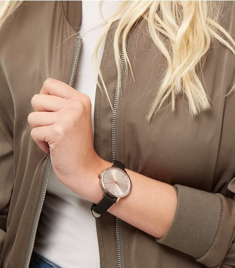 Dark Green Leather-Look Strap Watch | New Look