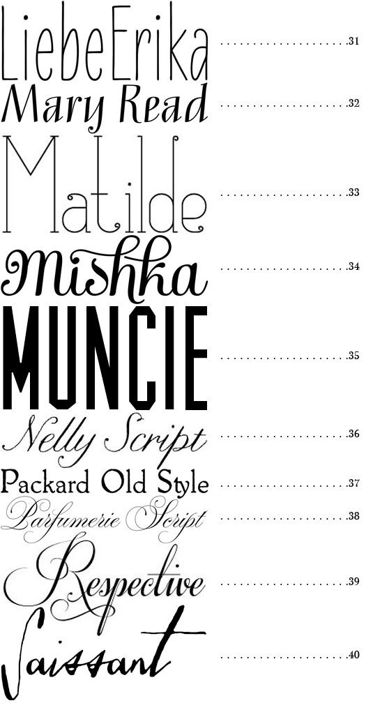 pretty and drool worthy via 50 fonts from Snippet & Ink