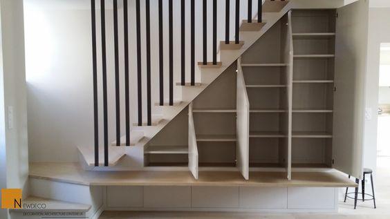 Escalier sur mesure garde corps placard sous escalier - Rangement chaussures sous escalier ...