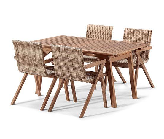 Dining Set Aus Polyrattan Und Akazie 7 Teilig Dining Table Furniture Outdoor Furniture