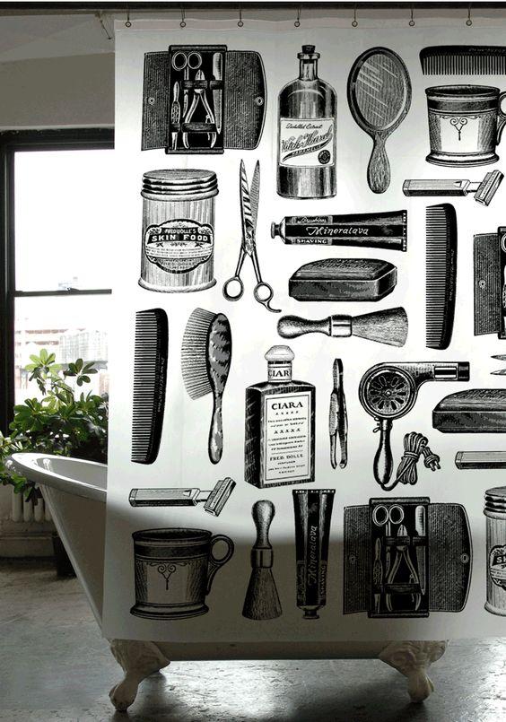 barber shop barbers and shower curtains on pinterest. Black Bedroom Furniture Sets. Home Design Ideas