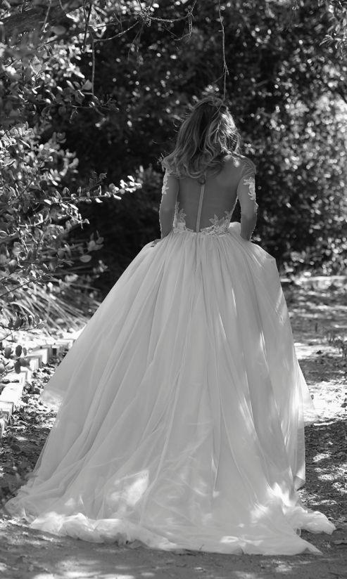 Sheer Long-Sleeve Ballgown Wedding Dress