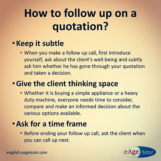 How to follow up on a quotation