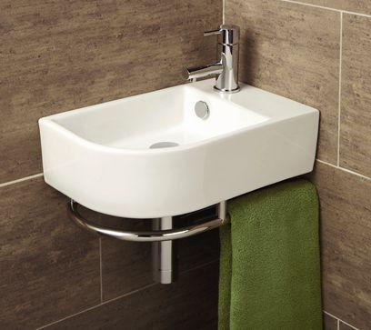 Malo Temoli Cloakroom Corner Wash Basin with Towel Rail
