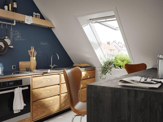Wohnen, Einrichtung, Wohnträume, Innenarchitektur, Wohndesign - küche in dachschräge