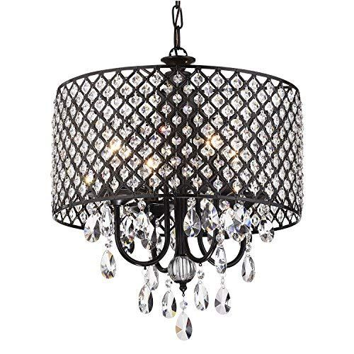 Beaded Drum Shade Edvivi Marya 4-Lights Antique Copper Round Crystal Chandelier Ceiling Fixture Glam Lighting