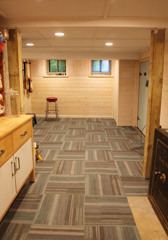 Here we've got a lot of the same floor tile, but they've been twisted and turned to create a fun pattern. That's definitely going to be a great way to get something unique for your basement carpet too.