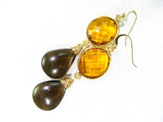 citrine & smokey quartz    Oie jewelry