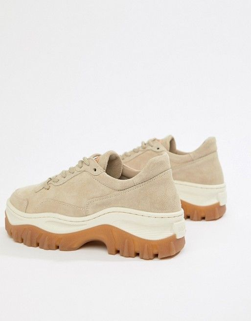 Bronx taupe suede chunky sneakers with