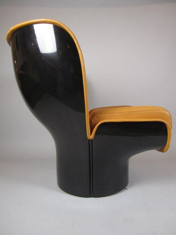 Vintage Modern Joe Colombo Black Tan Elda Chair.