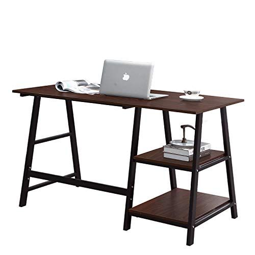Sogespower Writing Computer Desk Trestle Desk Laptop Pc Desk Morden Vintage Home Office Sturdy Table 55 Inches Walnut