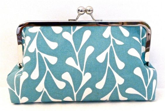 """Turquoise and White 8"""" Framed Clutch"""