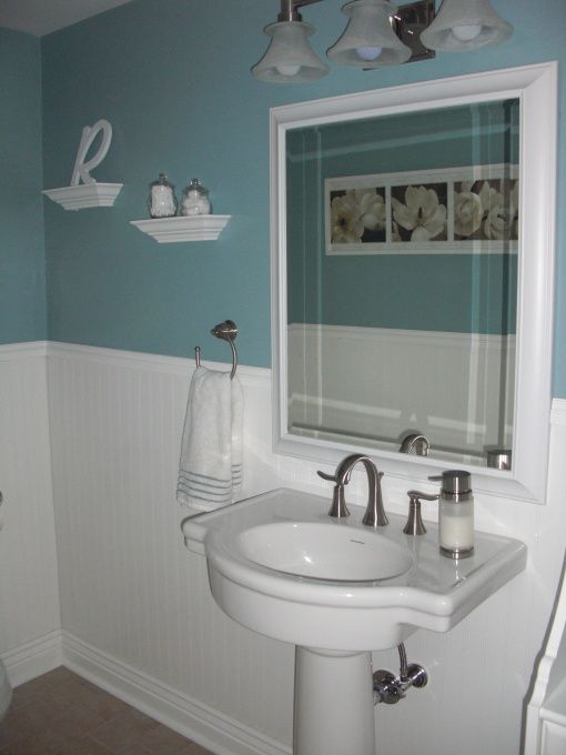 Small powder room updated powder room on a very tight for Decorating living room on a tight budget