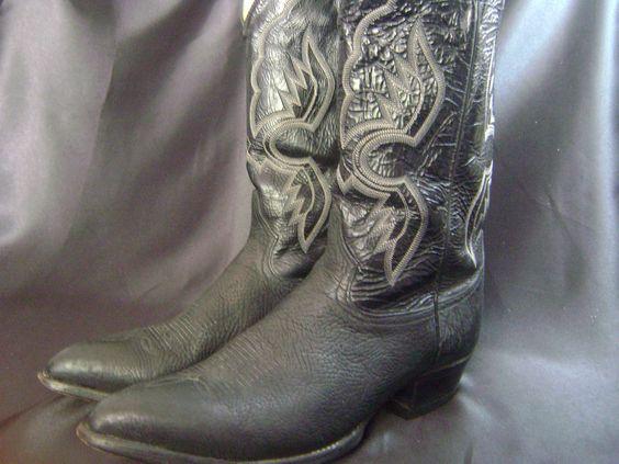 Tony Lama Mens Black Leather Cowboy Boots Western 6252