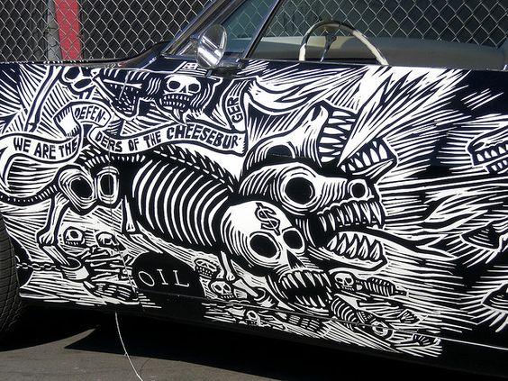 """muerto rider"" - looks like the car's artist is Artemio Rodriguez"