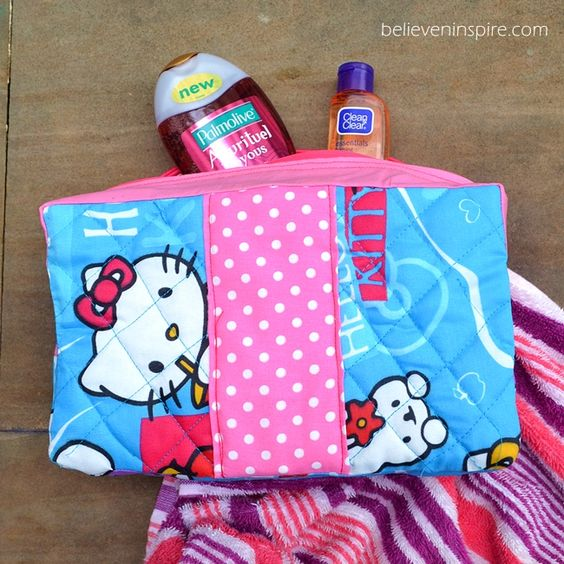 Vera Bradley Inspired Quilted Toiletries/ Cosmetic Bags Tutorial on believeninspire.com