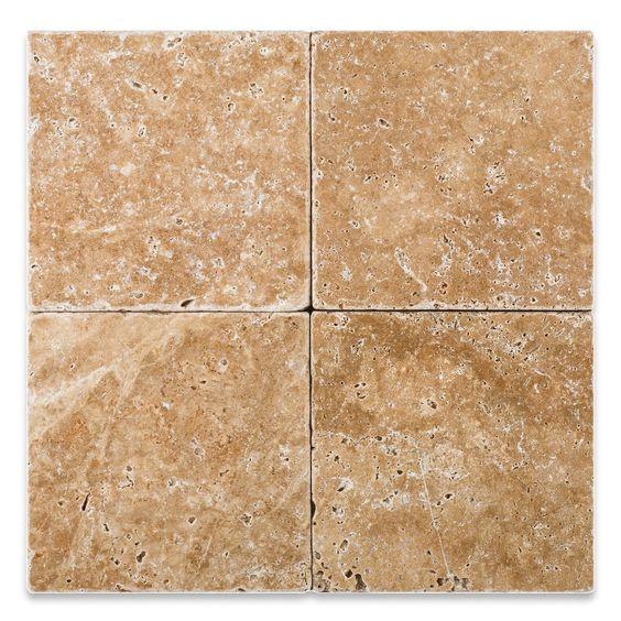 6 X 6 Walnut Travertine Tumbled Field Tile