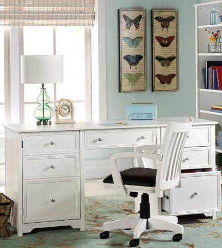 """Home Decorators Desk: Oxford Executive Desk, 30.5""""Hx63""""W, WHITE By Home"""