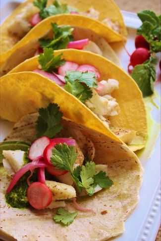 ... Fish Tacos with Pickled Red Onion, Radish Salad, and Verde Sauce More