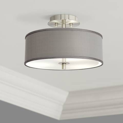 The Simple Gray Faux Silk Drum Shade On This Semi Flushmount Ceiling Light Will Add Simple Beaut Ceiling Lights Contemporary Ceiling Light Low Ceiling Lighting