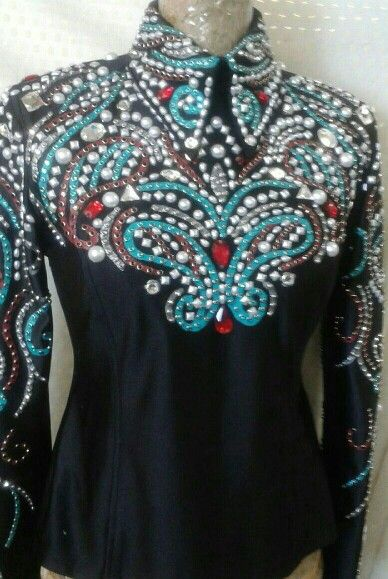 Show Diva Designs brand new HMS top in black, red, turquoise and pearls on heavy black lycra. Size small. Bust 36 waist 34.