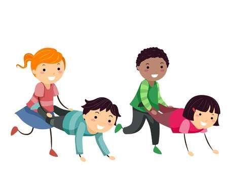 Ilustracao De Stickman Kids Wheelbarrow Andar Com Os Amigos Ninos Haciendo Ejercicio Imagenes Animadas De Ninos Caricaturas De Ninos