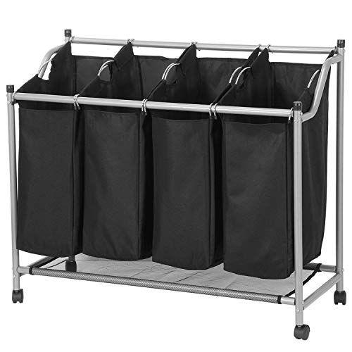 Sharewin 4 Bag Laundry Sorter Cart Laundry Hamper Sorter