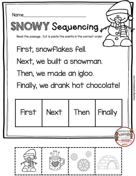 January No Prep Math Literacy Pack Freebies Keeping My Kiddo Busy First Grade Worksheets Sequencing Kindergarten Kindergarten Writing Snowman sequencing worksheet free