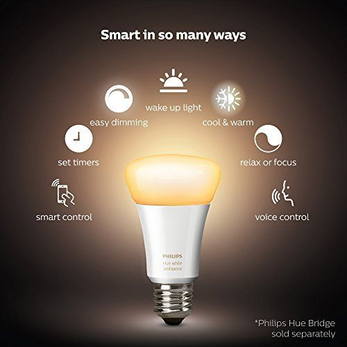 Philips Hue LED Smart Bulb 1 or 2 Pack White Ambiance 60W Equivalent Dimmable