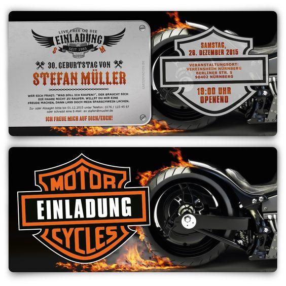 Einladungskarten Biker Geburtstag Einladung Geburtstagseinladung Biker Harleydavidson Birthday In Einladungskarten Online Einladungen Einladungskarten