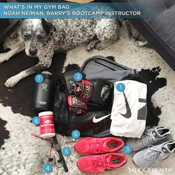 "Take a glimpse inside Barry's Bootcamp instructor and ""Work Out New York"" star Noah Neiman's gym bag."