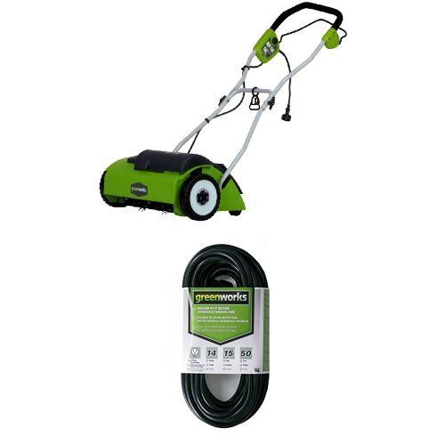 Greenworks 27022 10 Amp 14 Corded Dethatcher Greenworks Mowers For Sale Extension Cord