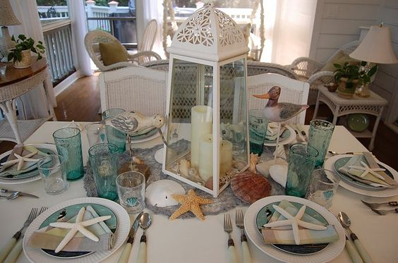 Beach Table: Table Settings, Table Decoration, Beach House, Bridal Shower, Beach Themes