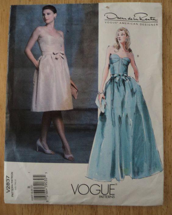 Vogue 2837 American Designer Oscar de la Renta Sz8-10-12 Cut to Sz8 Complete sld 4.99+3.64 1bd 1/11/17