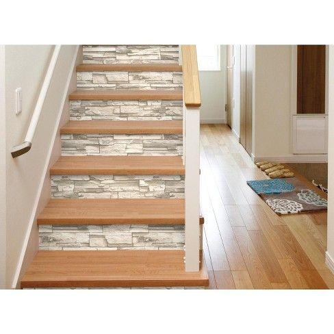 Natural Stacked Stone Peel And Stick Wallpaper Gray Roommates Adult Unisex Diseno De Escalera Escaleras Rusticas Y Decoracion De Unas