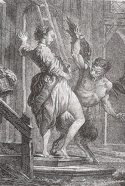 """Engraving of the devil defeated by the skirtlift. By Charles Eisen for an edition of Jean de La Fontaine's Fables.    """"In his essay, 'The Bravery of Women,' Plutarch describes an event in which a group of women altered the outcome of a war by simply lifting their skirts. During battle, the Persians fled the advancing forces but were abruptly halted by a large crowd of women, who all raised their skirts to flash their naked genitals. Shocked and perhaps shamed by this sudden exposure,..."""