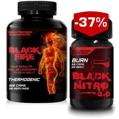 Black Fire är den andra fettförbrännaren från Black Madness Supplement och som kommer vara den hetaste på marknaden - en effekt du garanterat kommer känna av!Black Madness Black Nitro 2.0.Med marknadens allra senaste och effektivaste komponenter så är Black Nitro 2.0 en självklar nyhet för dig som vill komma i beachform snabbt! Black Nitro 2.0 ett perfekt tillskott för dig som vill få extra energi, förhöjd ämnesomsättning och dämpad hunger. Ord pris: 598:-